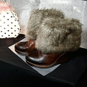 Vince Camuto Fur Leather Wedge Ankle Boot
